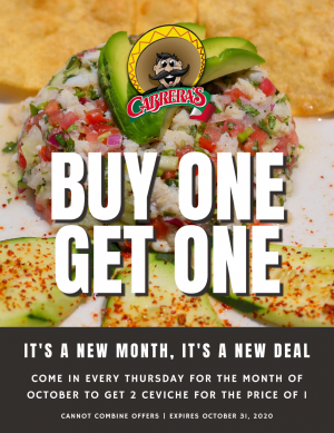 cabrara' buy one get one offer