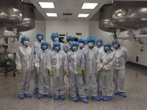 Blair H.S. students in the lab at Grifols biotech.