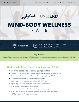 saybrook University Wellness Fair sponsorship flyer