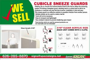 Special Signs cubicle sneeze guard