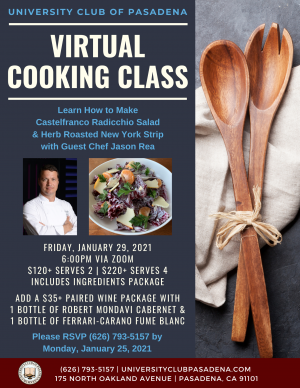 University Club cooking class flyer